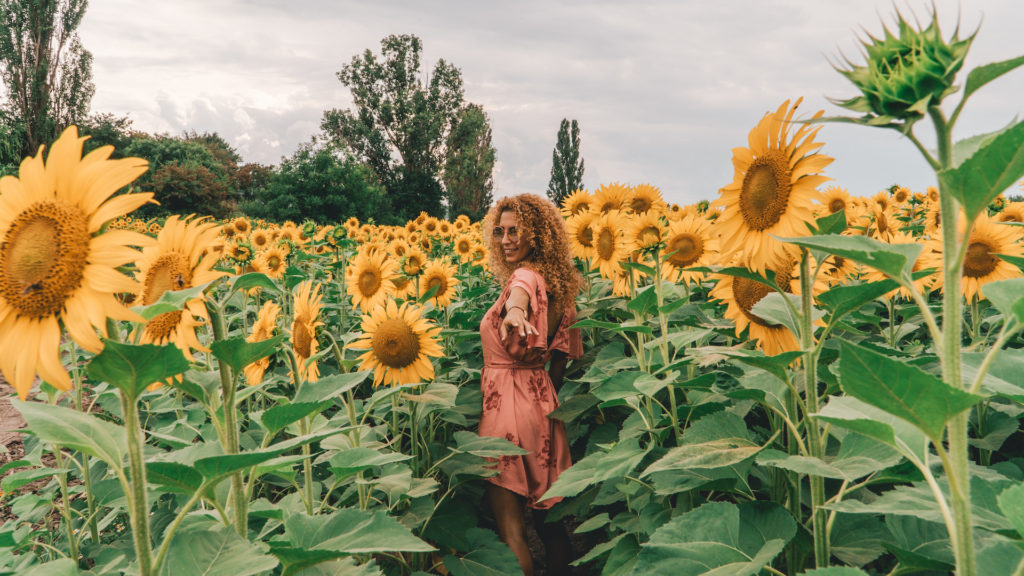 woman in sunflower field Bulgaria